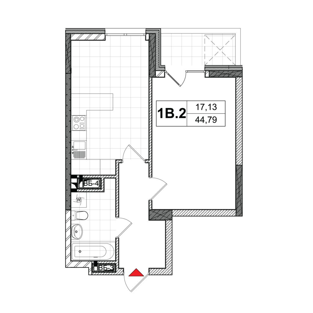 План квартири 1В-2
