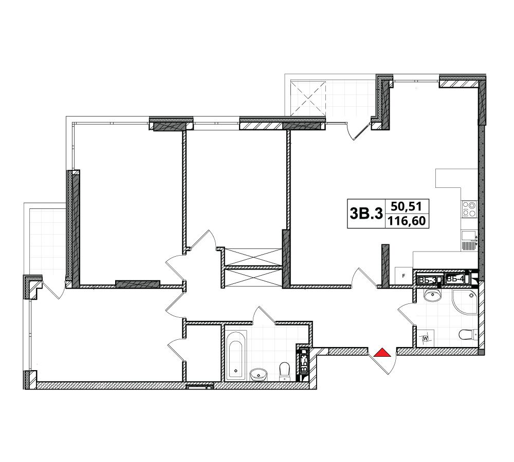 План квартири 3В-3